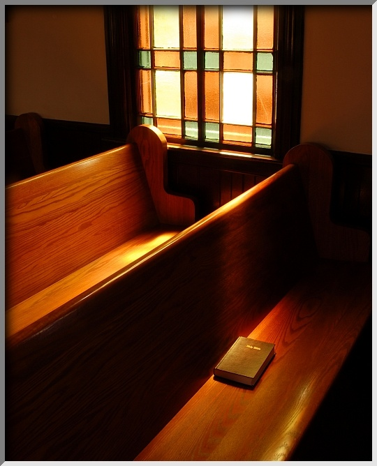 Soft sunlight on a pew at GGBC